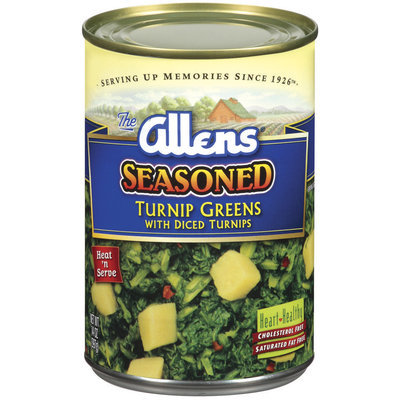 The Allens Seasoned W/Diced Turnips Turnip Greens 14 Oz Can