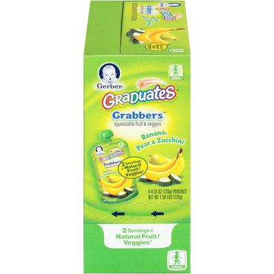 Gerber® Graduates® Grabbers™ Banana, Pear & Zucchini Squeezable Fruit & Veggies 6-4.23 oz. Pouches