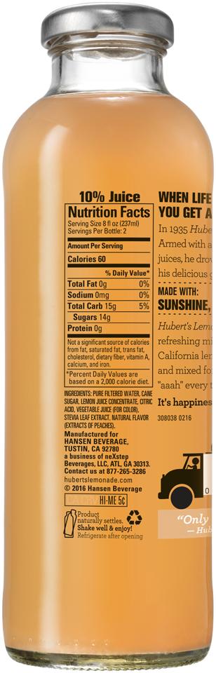 Hubert's® Peach Lemonade 16 fl. oz. Bottle