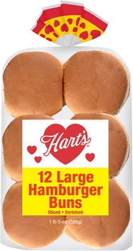 Hart's® Sliced Enriched Large Hamburger Buns 12 ct Package