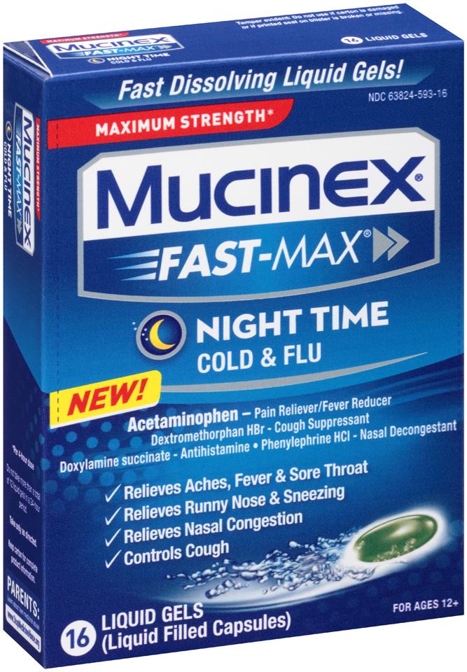 Mucinex® Fast-Max® Maximum Strength Night Time Cold & Flu Liquid Gels 16 ct Box