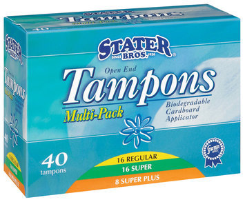 Stater Bros. Multi-Pk Open End W/Biodegradable Cardboard Applicator Tampons 40 Ct Box