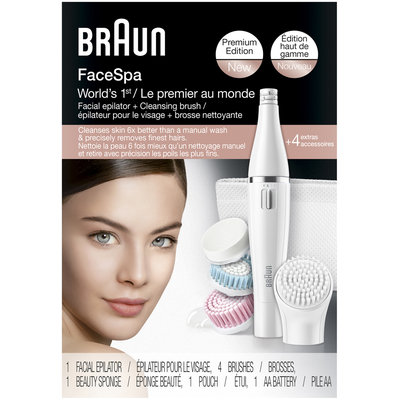 Silk-epil Face Braun Face 851 – Facial cleansing brush & facial epilator plus 3 beauty brushes for clear, beautiful skin