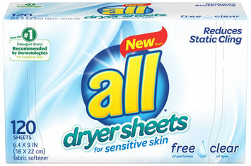 all® free clear Dryer Sheets for Sensitive Skin 120 ct. Box