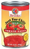 Brooks Just For Chili Mild W/Chili Seasonings Tomato Sauce 15 Oz Can