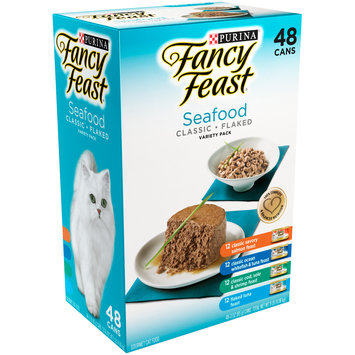 Purina Fancy Feast Classic & Flaked Seafood Feast Variety Cat Food 48-3 oz. Cans