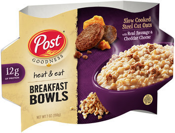 Post® Goodness Heat & Eat Slow Cooked Steel Cut Oats with Real Sausage & Cheddar Cheese Breakfast Bowls 7 oz. Bowl