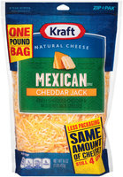Kraft Finely Shredded Mexican Style Cheddar Jack Cheese 16 oz. ZIP-PAK®
