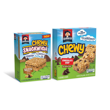 Quaker® Chewy™ Peanut Butter Chocolate Chip Snackwich 5 ct and Chewy Chocolate Chip 8 ct Granola Bars Group Shot