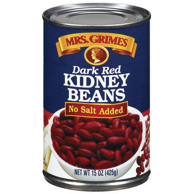 Mrs. Grimes Dark Red No Salt Added Kidney Beans 15 Oz Can