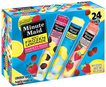 Minute Maid Soft Frozen Variety Pk Squeeze Tubes 4 Oz Lemonade 24 Pk Box