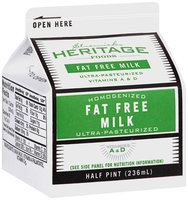 Stremicks Heritage Foods® Fat Free Milk 0.5 pt. Carton