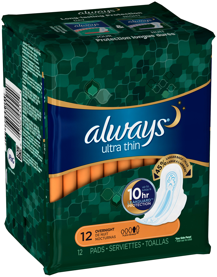 Ultra Always Ultra pads Overnight w/Flexi-Wings 12 count