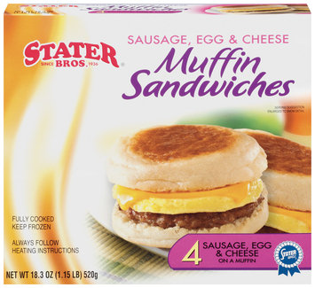 Stater Bros. Sausage Egg & Cheese 4 Ct Muffin Sandwiches 18.3 Oz Box