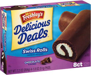 Mrs. Freshley's® Delicious Deals™ Swiss Rolls Creme Filled Cakes 4-1.8 oz. Wrappers