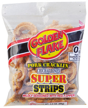 Golden Flake® Pork Cracklin Chicharrones Super Strips 3.5 oz. Bag