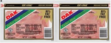 Dak 95% Fat Free 12 Oz Sliced Turkey Ham 2 Pk Zip Pak