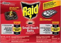Raid® Double Control Small Roach Baits and Raid® Plus Egg Stoppers™ 0.63 oz. Box