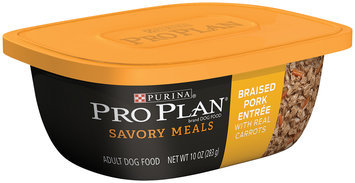Purina Pro Plan Savory Meals Braised Pork Entree with Real Carrots Adult Dog Food 10 oz. Tub