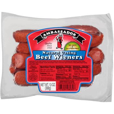 Ambassador® Natural Casing Beef Weiners 8 ct Pack