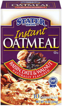 Stater Bros. Raisin, Date & Walnut Flavored - 10 Pack Instant Oatmeal 10 Pk Box