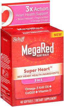 Schiff® MegaRed® Super Heart™ 3 in 1 Omega-3 Krill Oil + CoQ10 + Vitamin D Dietary Supplement 40 ct Softgel Box