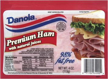 Danola Premium W/Natural Juices 98% Fat Free Sliced Ham 4 Oz Zip Pak