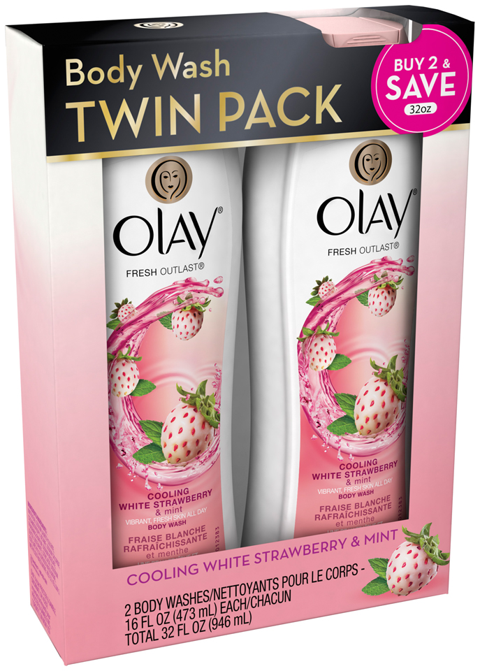 Bodywash Olay Fresh Outlast Cooling White Strawberry & Mint Body Wash 16 oz Twin Pack