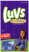 Luv with Ultra Leakguards Super Mega Pack Size 4 Diapers 68 ct Bag