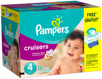 Premium Pampers Cruisers Size 4 Super Pack with Coupons 74 Count