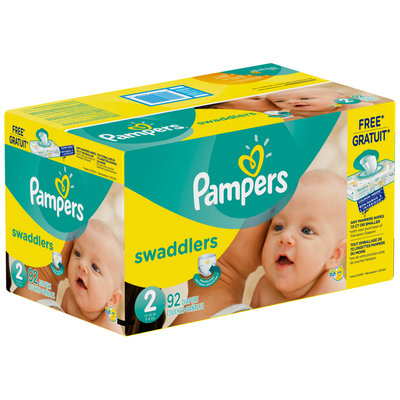 Premium Pampers Swaddlers Size 2 Super Pack with Coupons 92 Count