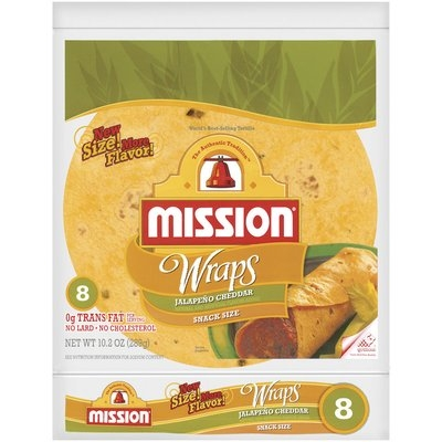 Mission Jalapeno Cheddar Snack Size 8 Ct Wraps 10.2 Oz Bag