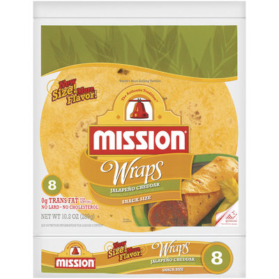 Mission Jalapeno Cheddar Snack Size 8 Ct Wraps 10.2 Oz Bag