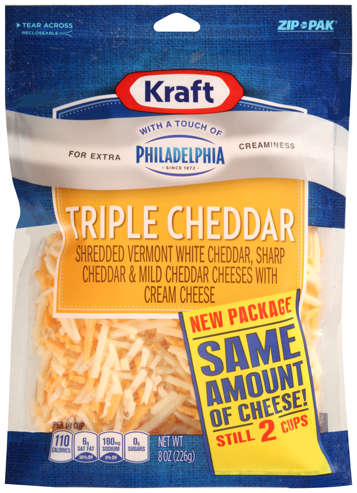 Kraft Shredded Triple Cheddar Cheese Blend with a Touch of Philadelphia 8 oz. ZIP-PAK®