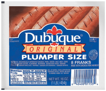 DUBUQUE Original Plumper Size Franks 8 CT VAC BAG