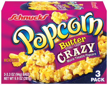 Schnucks Butter Crazy Movie Theatre Popcorn 3.3 Oz Each Popcorn 3 Ct Box