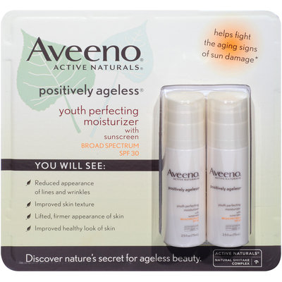 Aveeno® Active Naturals® Positively Ageless® Youth Perfecting Moisturizer with Sunscreen SPF 30 2-2.5 fl. oz. Bottles
