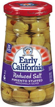 EARLY CALIFORNIA Reduced Salt Pimento Stuffed Manzanilla Olives 5.75 OZ JAR