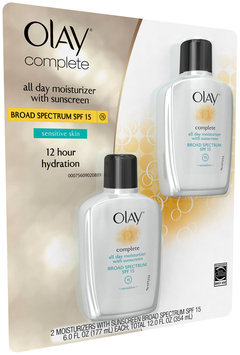 Complete Olay Complete All Day Moisturizer with Broad Spectrum SPF 15 - Sensitive, Twin Pack, 12 fl oz