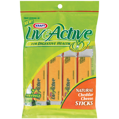 Kraft Liveactive Cheddar Natural 7 Ct Cheese Sticks 7 Oz Peg