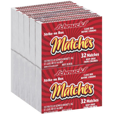 Schnucks Strike On Box 32 Ct Matches 10 Pk Wrapper