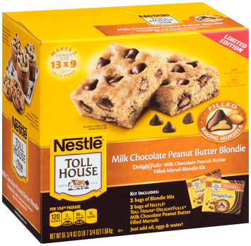 Nestlé TOLL HOUSE DelightFulls Milk Chocolate Peanut Butter Filled Morsel Blondie Kit 55.75 oz. Box