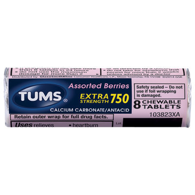 Tums® Extra Strength 750 Antacid Calcium Carbonate Assorted Berries Chewable Tablets