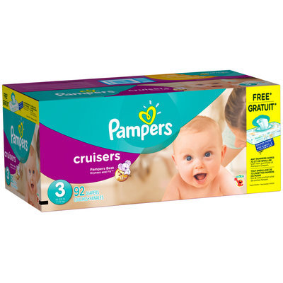 Premium Pampers Cruisers Size 3 Super Pack with Coupons 92 Count