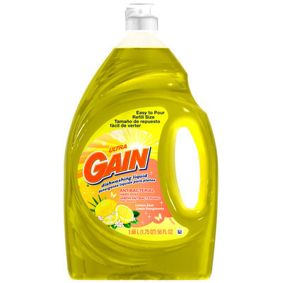 Gain® Ultra Antibacterial Lemon Zest Dishwashing Liquid 56 fl. oz. Plastic Bottle