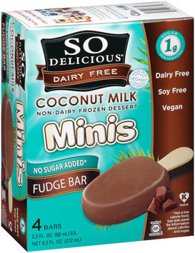 So Delicious® Dairy Free Minis Coconut Milk Fudge Bar 4-2.3 fl oz Box