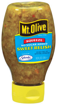 Mt. Olive Sweet No Sugar Added Relish 10 Oz Squeeze Bottle