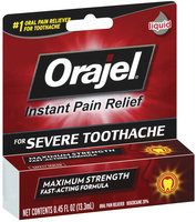 Orajel Severe Pain Formula Oral Liquid Pain Reliever For Toothache .45 Oz Peg