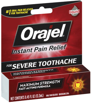 Orajel Severe Pain Formula Oral Liquid Pain Reliever For Toothache .45 Oz Peg