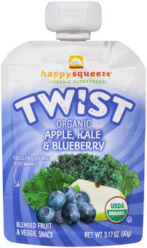 Happy Squeeze® Organic Twist Apple, Kale & Blueberry Blended Fruit & Veggie Snack 3.17 oz. Pouch